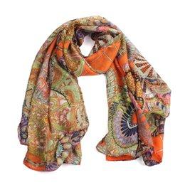 Compra Online Mejores bufandas de moda-Venta al por mayor a estrenar 2015 mejores bufandas de la manera muchacha de las mujeres de la gasa de seda impresa suave larga del mantón de la bufanda
