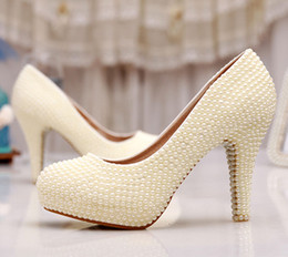 Free Shipping Wedding Shoes Ivory Bride Woman Shoes Spring Summer Party Prom High Heels Shoes 3 Inches Heel Platform Formal Dress Shoes