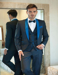 Designer Navy Blue Flat Collar Customized Wedding Suits Groom Tuxedos Bridegroom Mens Suit Dinner Suit Wedding suit Jacket+Pants+Vest