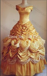 Wholesale-belle costume adult princess belle beauty and beast costume cosplay halloween costumes dress custom made withe free petticoat