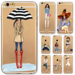 For iPhone 5 5S SE 6 6s 6sPlus Phone Case Cover Fashion Dress Shopping Girl Transparent Soft Silicon Mobile Phone Bag