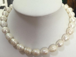 Classic 11-13mm baroque south sea white pearl necklace 18inch 14K gold clasp