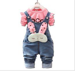 2018 Spring Autumn Baby Girl Cartoon Rabbit Cowboy Suspender Pants + Cotton Long Sleeve T-shirt 2pcs Sets Kids Suit Girls Polka Dots Outfit