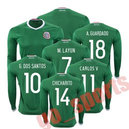 Wholesale 2016 Century American Cup Mexico Home Green Soccer Jerseys Long Sleeve CHICHARITO G DOS SANTOS M LAYUN CARLOS V A GUARDADO Soccer Jersey