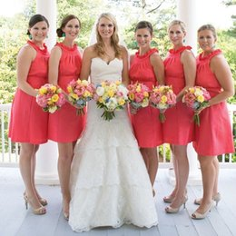 Coral Country Short Bridesmaid Dresses Ruched Halter maid of honor dresses Knee Length Party Dresses Pleats High Neck