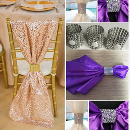 Wholesale 2016 Pink Sequined Chair Sash Shiny Simple Chair Covers With Silver Napkin Rings Tie In Whole Custom Made Chair Bows