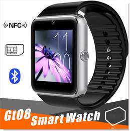 2017 apple iphone montres intelligentes GT08 Bluetooth Smart Watch avec fente pour carte SIM et NFC Health Watchs pour Android Samsung et IOS Apple iphone Smartphone Bracelet Smartwatch apple iphone montres intelligentes offres