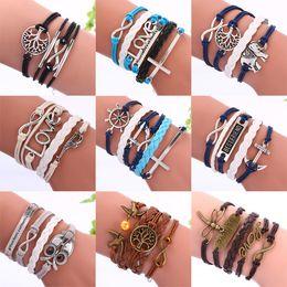 Wholesale Infinity Leather Bracelets Fashion Heart Tree Of Life Owl Bird Cross Anchor Multilayer Charm Bracelets For Women