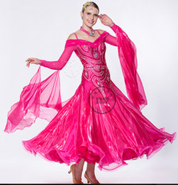 customize light rose red back cutout adult ballroom dress competition competition Dance Dress for lady for girl rhinestone