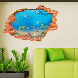 60*90CM 3D cartoon underwater world wall stickers for kids room decorations diy removable boys girls wall decor wall art