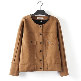 Wholesale-F6 Autumn Winter Casual Women Suede Jacket Plus Size Woman Clothes Long Sleeve Two pockets Handsome Fashion Short Coat