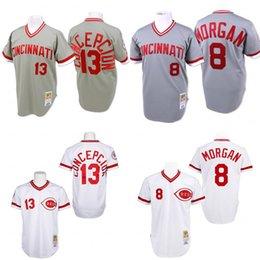 Wholesale Grey Throwback Joe Morgan Dave Concepcion Authentic Jersey Men s Mitchell And Ness Cincinnati Reds