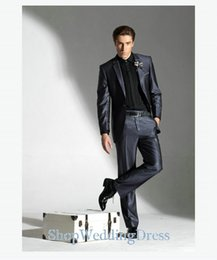 Wholesale Shiny Black Jackets For Men - Custom Made ! Notch Laple One Button Microfiber Shiny Gray Groom Suits For Wedding Party ( Jacket+Pant )