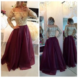 Wholesale Long Dresses Uk Online - Scoop Long Sleeves Gold Lace Appliques Evening Dresses Organza Dark Red Sweep Train 2016 Modest Prom Party Gowns Custom Online UK Style