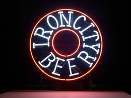 IRON CITY BEER REAL GLASS NEON Real Sign Home Beer Bar Pub Recreation Room Game Room Windows Garage Wall Sign