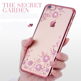 Wholesale-Luxury soft rose gold phone case for iPhone 6 6S 6plus 6Splus Crystal Rhinestone transparent Diamond Shining Electroplating capa