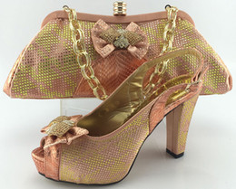 Wholesale Cherry Lady Newest High quality PEACH party matching italian shoes and bag set with platform cm thin high heels