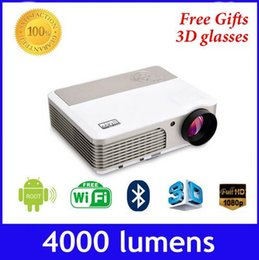 Wholesale Wifi android4 HD Projector Full Color LCD Panel LED Technology Lumens Multimedia Beamer Home Proyector for Game TV Cinema