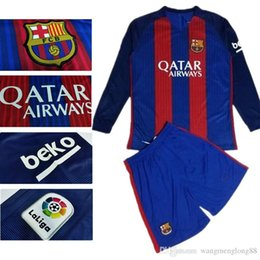 Wholesale Hot Sale Barcelona jersey best Quality adult Long sleeve kit sock Shirts Home Away Messis Maillot De Foot Man kit sock free s