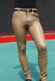 Sexy Men Faux Leather Matte Pencil Pants Skinny Pants Casual Leggings Slim Fit Tight Zipper Erotic Lingerie Club Wear FX112