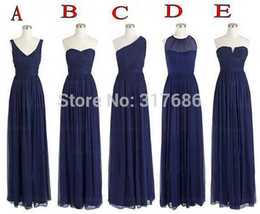 Wholesale 5 Styles Wedding Party One Shoulder Chiffon Floor Length Long Navy Blue Bridesmaid Dresses Vintage Goods S23