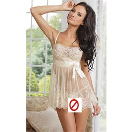Wholesale Sexy Camisole Chemise Retro Dress G string Backless Women Lingerie Lace sexy ladies lingerie straps perspective Ladies PLUS Size nightdress