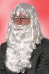 Wholesale Heat Resistant gt gt DELUXE WHITE SANTA CLAUS WIG AND BEARD SET CHRISTMAS COSTUME ADULT MENS WIG