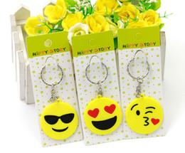 Wholesale Emoji Key Chains Small Keychain Emotion Yellow QQ Expression Stuffed PVC Doll Toy design emoji pvc keyring KKA844