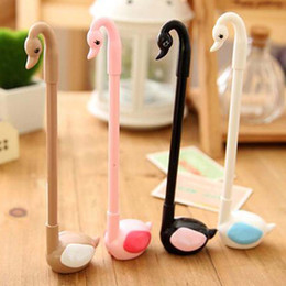 10pcs lot Seat Kawaii Cute Swan Shape Writing Pens Gel Pens Promotional Pens Cute Prize Gifts Stationery