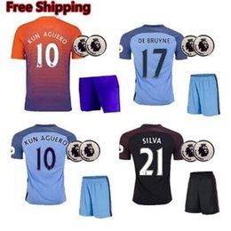 Wholesale Wholesalers adults Manchester Soccer Uniforms City SETS kits SILVA KOMPANY Children kun Aguero DE Bruyne Sterling Guardiola