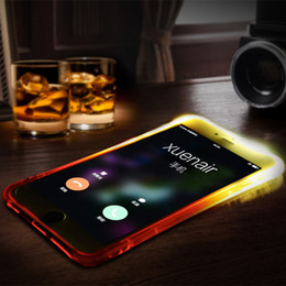 Wholesale iPhone S security airbag design Anti knock phone case For iphone s Plus TPU LED Light Flash Clear Smart Calling Glitter Luminous Cover