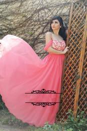 Fascinating Coral Chiffon 2016 Prom Dresses Off Shoulder Draped Long Women Formal Evening Gowns Arabic Vestidos De Noche