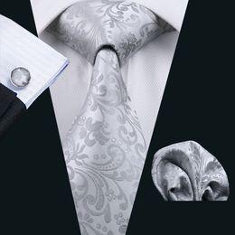 Hight Quality Woven Silk Mens Necktie Cufflinks And Hanky Gray Floral Silk Tie for Men Business Wedding Bridegroom Neckties N-1169
