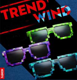 Wholesale Fashion Creeper Sunglasses JJ Computer Nerd Geek Gamer Glasses Full Frame Women Men Unisex Mine craft Sun Glasses Blue Green Purple