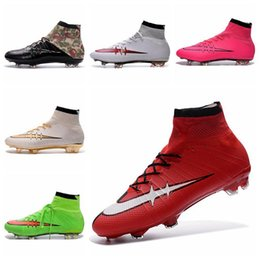 2016 Free Shipping Cheap Superfly FG High Ankle Soccer Shoes Superfly CR7 Soccer Cleats Mens Boys Football Boots Silver red size 39-46