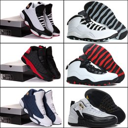 Wholesale with shoes Box NEW Retro III IV X XIII Black White Cement Men Basketball Shoes Kids shoes SIZE US