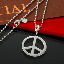 Fashion Jewelry 925 Stealing Silver Necklaces beads chain Peace Sign Pendant-Necklace for Women Christmas Gift for Men