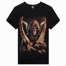 Men's Sports Brand 3D T-shirt Short Sleeve Fashion Cotton T-shirt Skull Double Knife Death Men's T-shirt