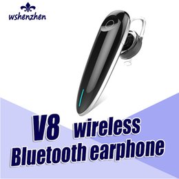 High quality earphones earbuds For Smartphone V8 Wireless Bluetooth earpiece Handsfree Headset Support Music With USB Cable