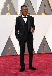 Wholesale Black Groom Tuxedos Oscar Awards The Best Man Party Mens Suits Blue Dinner men Suits Groomsmen Suits Boy s Suits Jacket Pant Vest tie
