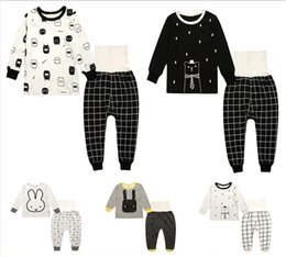 Wholesale boys Clothing nursing navel trousers kids baby girls set clothes Plaid pants cartoon rabbit jacket Pyjamas top and leggings suits