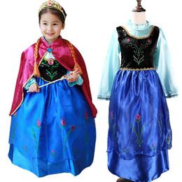 new 2016 Frozen dresses Anna princess dress kids+ red cloak Puff Sleeve summer clothing & children's clothes cartoon pattern