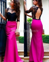 Wholesale Strapless Open Side Prom Dresses - Sexy Sheer Long Sleeves Black Lace Prom Dresses Open Back Floor Long Fuchsia Satin Plus Size Evening Special Occasion Gowns Cheap 2016