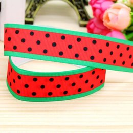 "7 8"" 22mm Watermelon Green Red Black Dots Printed Grosgrain Ribbons DIY Hairbows Accessories Materials Crafts A2-22-2519"