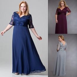 Wholesale Plus Size Mother Bride Dresses V Neck Lace Half Sleeves Women Evening Gowns Maxi Big Size Chiffon Elegant Dress For Fat