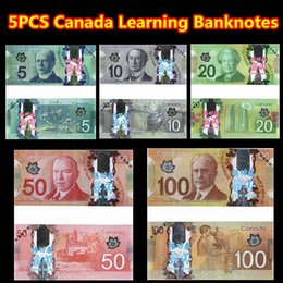 Wholesale 5PCS Canada Training Banknotes C CAD Bank Staff Collect Learning Banknotes Arts Christmas Gifts Home Arts Crafts New