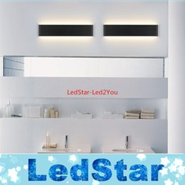 Wholesale 2016 New Designer Black White LED Stairs bedroom living room background lamp lights Aluminum Bathroom mirror light wall sconces