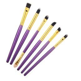 Wholesale 6 Makeup Brush Set Kits Multipurpose Makeup Brush for Lips Eye Shadow Cosmetic Tool Aluminum Tubes