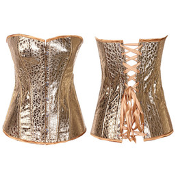 Wholesale Sexy Leather Lingerie Corset - In Stock Hot Sexy Gold Artificial Faux PU Leather Corset Basques Lingerie 845