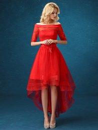 new red word shoulder Bra Homecoming Dresses Short in front long lace flowers dress 2016 charming Homecoming prom canonicals plus size